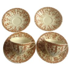 Crown Ducal Flat Cup and Saucer Dinnerware Plate Adaption of Early English Ivy Brown Smooth Set of 4