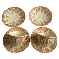 Crown Ducal Adaption of Early English Ivy, Brown, Smooth, Flat Cup and Saucer Dinnerware Plate Set of 4