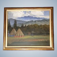 Margery Stephenson, Two Indians at Camp in the Western Rocky Mountains, Original Acrylic on Canvas Painting Signed by Artist