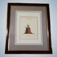 Woody Big Bow  (1914 - 1988)  Sitting Indian Gouache Watercolor Painting Signed by Listed Artist