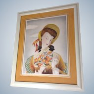 Michel BP Watercolor Painting Lady Figural in Sun Hat with Bouquet Portrait, 1951 Airbrush Works on Paper, Signed by Artist