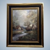 Baghert, Landscape Oil Painting on Board of a Stream Through a Village Signed by Artist