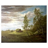 A. V. Rüdt, European Pastoral Landscape Oil Painting Of Workers In A Field Munich Germany Signed By Artist