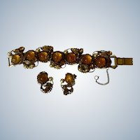 Dragons Breath Amber Colored Bracelet and Clip Earrings Glass Utility patent # 2,583,988  Frederick A. Ballou, Jr. & Rogers T. Stafford 1949