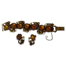 Vintage Bracelet and Clip Earrings Glass Dragons Breath Amber Color Utility patent # 2,583,988  Frederick A. Ballou, Jr. & Rogers T. Stafford 1949