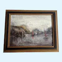 Maud Harris, Sailboats in a Bay Seascape Oil Painting