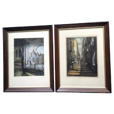 Venetian Santa Maria Della Salute and European Street Scene, Pair of Vintage Aquatint Watercolor Etching Prints Signed by Artist