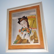 Michel BP Watercolor Painting Lady Figural with Bouquet and Parasol Portrait, 1951 Airbrush Works on Paper, Signed by Artist