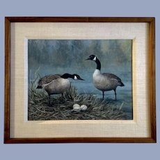 Bob Haynes, Canadian Geese Oil Painting Signed by Listed Artist
