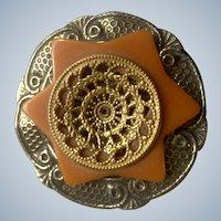 Vintage Bakelite Star Brooch Pin With Orange, Gold-tone & Silver-tone