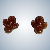 Amber Colored Stones Earrings Pierced With Studs or Posts