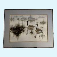 Lynn Duff, Wintering Geese, Wildlife Art Watercolor Painting