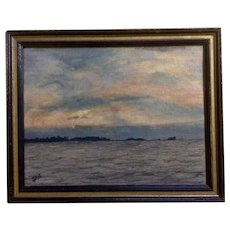 Seascape Rocky Jetty Sunset Skyscape Oil Painting on Canvas Signed Jan