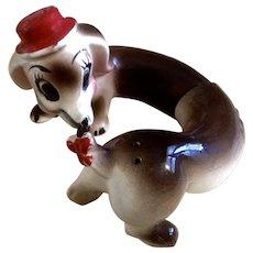 Silly Dog Salt & Pepper Shakers, Anthropomorphic Hi Friend Ceramic Made in Japan Figurines