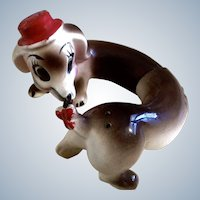 Vintage Dog Salt & Pepper Shakers, Anthropomorphic Hi Friend Ceramic Made in Japan Figurines