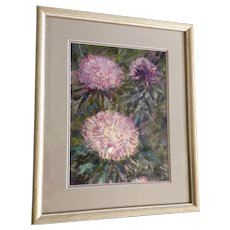 Beautiful Wildflowers Oil Painting Illegibly Signed By Artist
