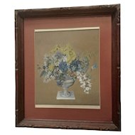 Frederike (Fr.) Meinert, Still Life Bouquet of Wildflowers 19th Century Watercolor Painting Works on Paper Signed by Listed German Artist