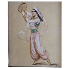 Peri, Dancing Gypsy Woman with Tambourine Watercolor Painting Works on Paper Signed