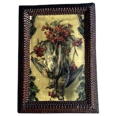 Tramp Art Frame 1920's Southard Novelty Company Embossed Game Bird Calendar Print