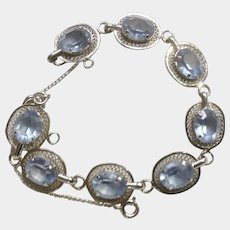 Vintage DCE Sterling Silver Bracelet with Aqua Marine Rhinestones Curtis Jewelry Mfg