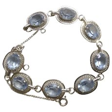 Vintage DCE Sterling Silver Bracelet with Aqua Marine Rhinestones Curtis Jewelry Mfg