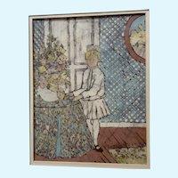 Sallie Carlson, Batik Painting Little Girl Standing by Flower Arrangement