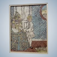 Sallie Carlson, Batik Painting Little Girl Standing by a Floral Flower Arrangement