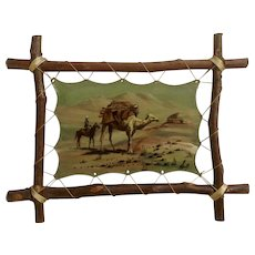 Camel Bearing a Load with Horse and Rider Small Mongolia Oil Painting on Stretched Leather Signed by Artist