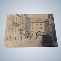 Architectural Watercolor Painting Drawing of a Figural Street Scene Monogrammed by German Artist 1964 KK