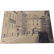 1964 KK Architectural Watercolor Painting Drawing of a Figural Street Scene Monogrammed by German Artist
