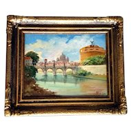 M. Dileo,  Castel Sant'Angelo and Ponte Sant'Angelo Bridge Across the Tiber River, Rome, Italy, Vatican Oil Painting on Board, Street Artist Signed
