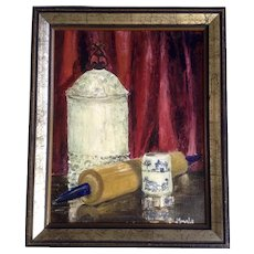 J Smale, Still Life Oil Painting of Kitchen Items on a table, Signed by Artist
