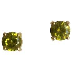 Lime Green Rhinestone Stud Post Earrings for Pierced Ears marked Roman