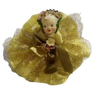 Mid-Century Girl Yellow Bow & Flowers From May Department Store