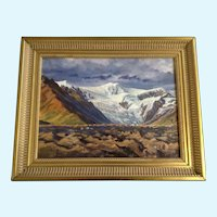Rocky Mountain Pass with a Glacial flow Oil Painting