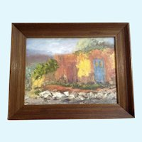 Doors on a Southwestern Adobe House Impressional Landscape Oil Painting