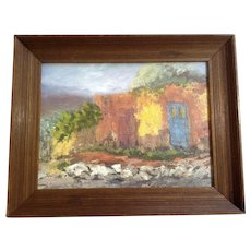 Red and Blue Door on a Southwestern Adobe House Impressional Landscape Oil Painting