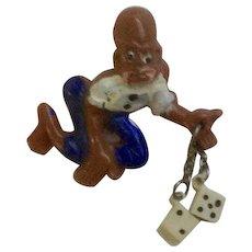 Vintage Black Americana The Gambler Playing Craps Brooch Pin