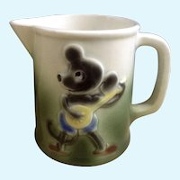 Antique Germany Child's Creamer Mouse Playing Banjo Ceramic Pottery