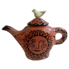 Garson Pakele Whimsical Judaic Ceramics Teapot With Sun Shine Your Light & Bright Prospects