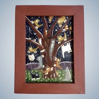 Astarte, Cats in a Tree at Night Acrylic Painting on carved Wood Plank Signed by Artist
