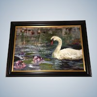 Patience Heyl, Large Oil Painting on Canvas by Listed Colorado Artist, Titled, 'The Peacemaker' Swan by Water Lillies