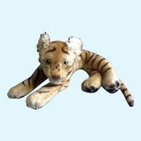 Steiff Bengal Tiger 1952-1953 Stuffed Animal Green Glass Eyes Mohair Germany
