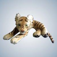 "Steiff Bengal Tiger 1952-1953 Large Stuffed Plush Animal Green Glass Eyes Mohair Germany 23"" Glow in Dark Eyes"