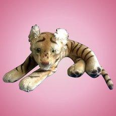"Vintage Steiff Bengal Tiger 1952-1953 Large Stuffed Plush Animal Green Glass Eyes Mohair Germany 23"""
