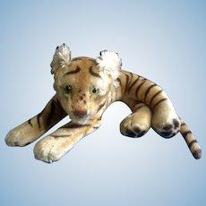 "Vintage Steiff Bengal Tiger 1952-1953 Large Stuffed Plush Animal Green Glass Eyes Mohair Germany 23"" Glow in Dark Eyes"