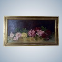 Turn of the Century Roses Still Life Oil Painting on Canvas Monogrammed