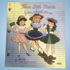 Vintage Uncut 1950's Three little Maids From School Are We Paper Doll Cut Out Book Abbott # 1813