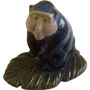 Blue Stoneware Baboon Ape Mountain Monkey Pottery Figurine