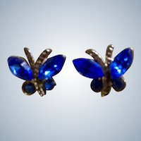 Small Earrings Little Blue Butterfly Gold Tone Pierced